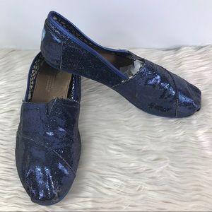 Toms blue sequin slip on classic flats